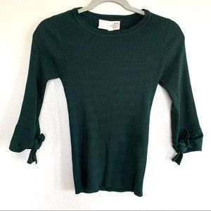 JOA Green Ribbed Knit Tie Sleeve Sweater Top